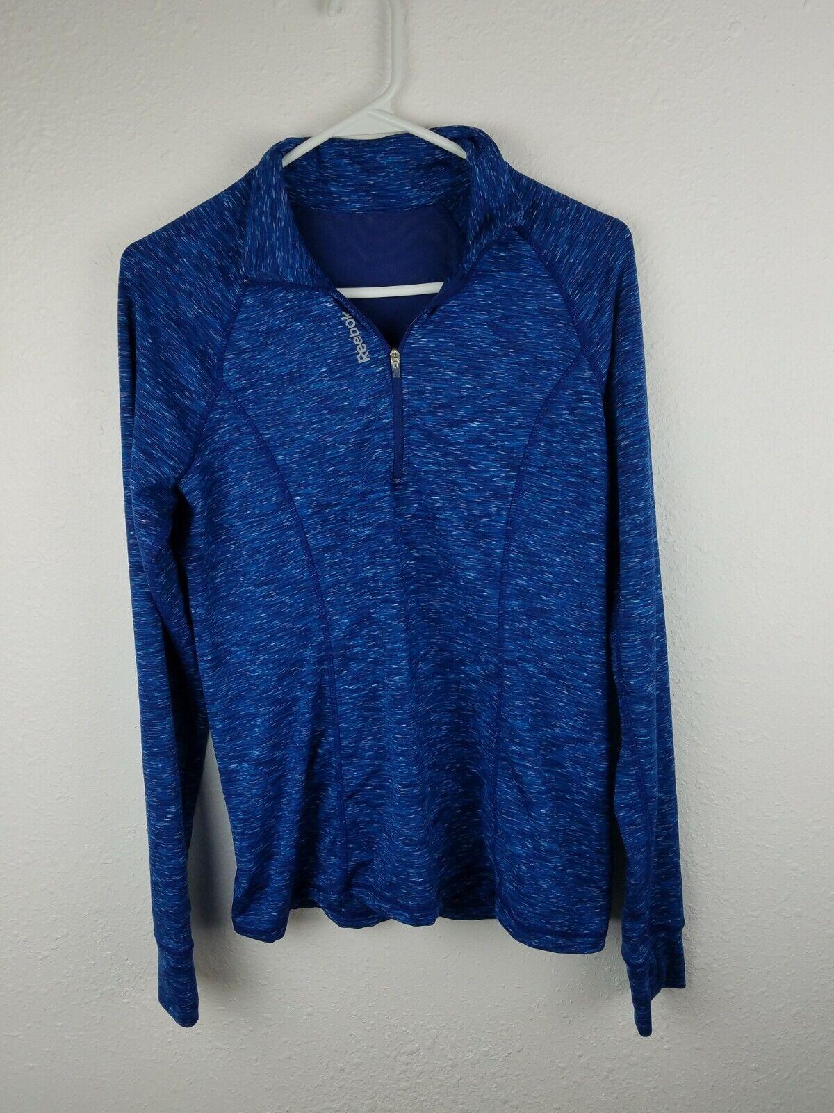 Reebok Womens 1/4 Zip Pullover SZM Blue Space Dye Thumbholes Mesh Insert A19