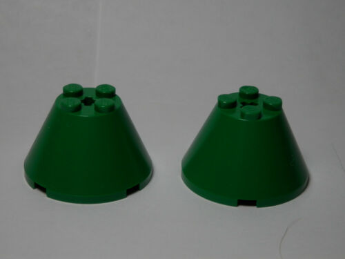 LEGO LEGOS Set of 2 NEW Cones 4x4x2 with Axle Hole Green STAR WARS