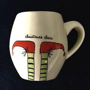Rae-Dunn-Magenta-Ivory-Green-Christmas-Cheer-Holiday-Elf-Shoes-Coffee-Tea-Mug