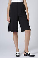 TOPSHOP Black Petite Satin Back Crepe Culottes Trousers Shorts Size 4 to 14