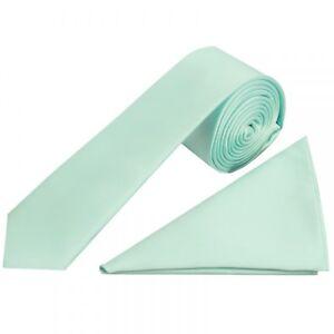Sonstige Plain Mint Green Satin Skinny Men's Tie And Handkerchief Set Wedding Prom Neck Herren-accessoires