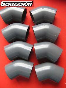 8-Stueck-PVC-Winkel-Bogen-45-Grad-d-50-mm-DN-40-innen-innen-Pool-Wasserrohr