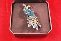 Beautiful 3 Brass Peacock W/faux Jewels Brooch Pin Dillards In Gift Box