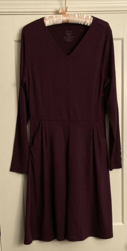 Ibex Purple Long Sleeve Shae Dress Merino Wool V N