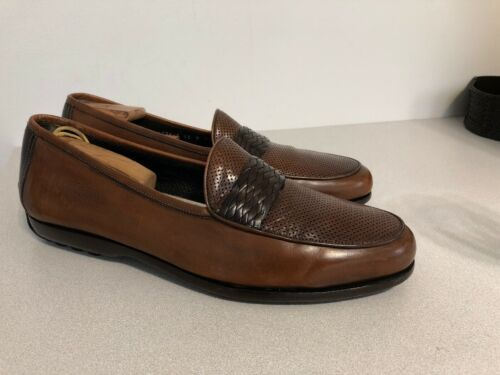 Bragano Men's Brown Leather Driving Loafers Size 1