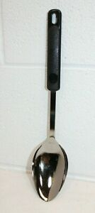 Vintage-EKCO-Serving-Cooking-Spoon-w-Black-Plastic-Handle-Stainless-12-034-EUC