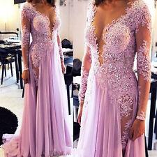 Neu Langarm Spitze Chiffon Brautkleider Hochzeitskleid Ballkleid Abendkleider