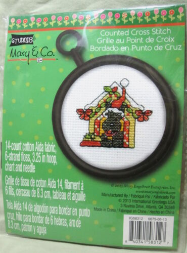 Ornament NIP Christmas DOG HOUSE Cross Stitch KIT Round Frame Holly Bow Scotty