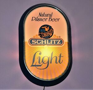 Vtg-Natural-Light-Pilsner-Schlitz-Beer-Wall-Light-Sign-Used-Working-Well