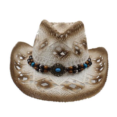 Hommes Femmes Chapeaux de Cowboy en Paille Western chapeaux Panama Large Bord Sunhat Sombrero Fedora
