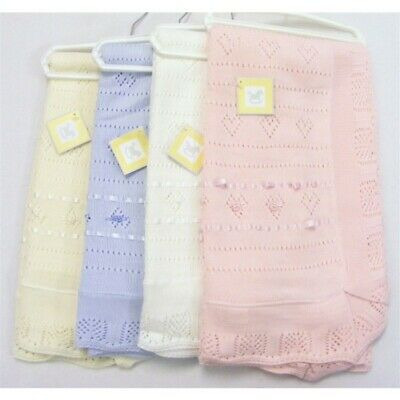 TRADITIONAL SPANISH STYLE POINTELLE KNITTED SHAWL SCALLOP EDGE WHITE BLUE PINK