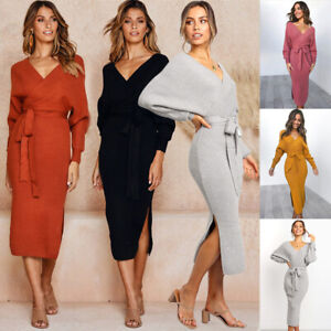 Bodycon-Party-Pencil-Long-Sleeve-Dress-Knitted-Sweater-V-Neck-Women-Ladies