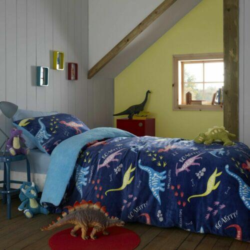 Luxuries  Dinosaur Unicorn Printed Cosy TEDDY FLEECE Kid/'s Duvet Cover Bed Sets
