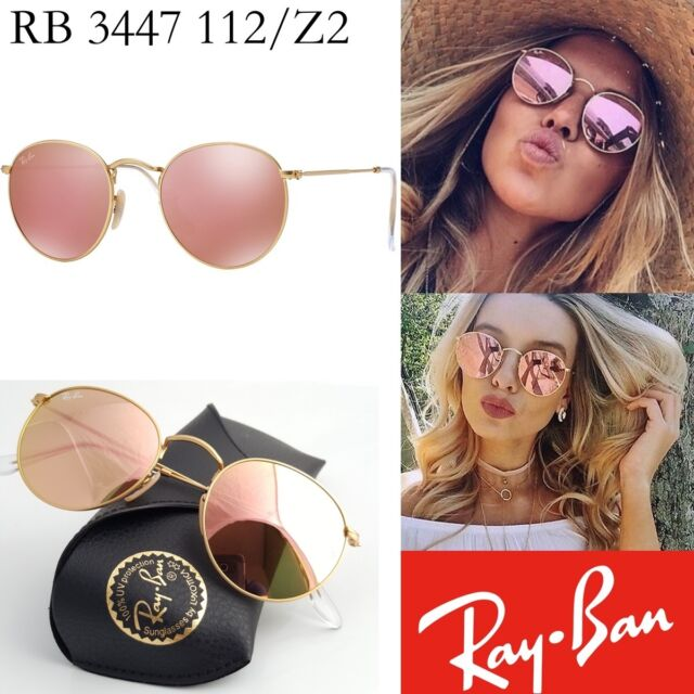 57c736ae9346e8 Ray-Ban Gold Round Metal Rb3447 Pink Mirror Copper Flash 3447 112 z2 ...