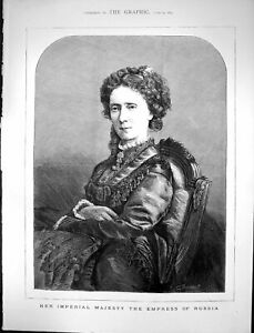 Original-Old-Antique-Print-1874-Portrait-Her-Imperial-Majesty-Empress-Russia