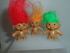 BRING BACK MEMORIES WITH 3 LUCKY TROLL DOLLS  PENCIL TOPPER NEW Trolls!