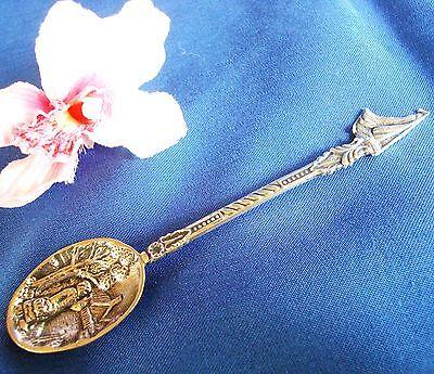 Schneidig Andenkenlöffel Niederlande Löffel Silber Old Spoon Schiff Motiv 5 / Bb 855