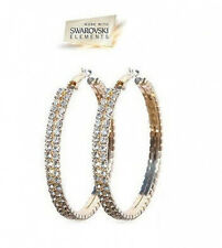 Swarovski Crystal Hoop Earrings in Gold Overlay, Gift-Boxed
