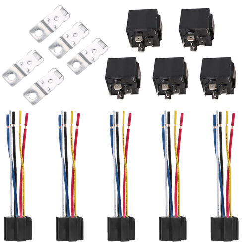 Harness Sockets Plug 5PCS DC 12V 30//40 Amp SPDT 5 Pin Automotive Car Relay