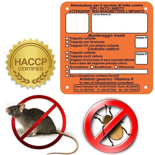 N. 25 CocheTELLI SEGNALAZIONE TRAPPOLA PER TOPI RATTI E INSETTI IN FOREX 15X15 CM.
