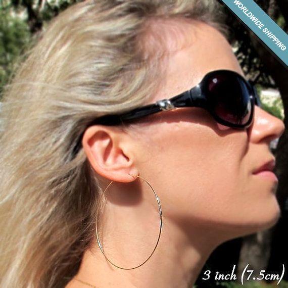 Lightweight Gold Hoop Earrings / 3 Inch Hoops / Fashion Jewelry / Large Earrings