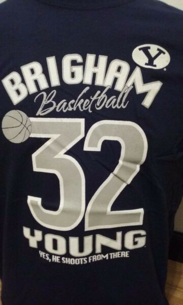 save off 5abc4 d2673 Jimmer Fredette #32 BYU Cougars Basketball Navy T-shirt XX ...