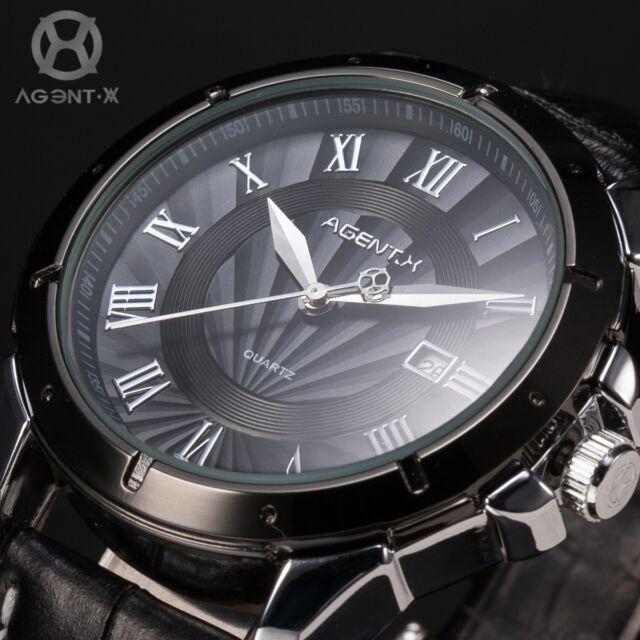 AgentX Mens Stylish Black Dial Stainless Steel Date Leather Fashion Quartz Watch
