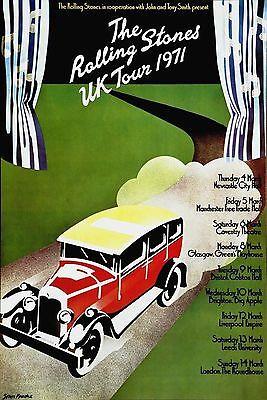 The Rolling Stones  UK Tour  Rare Authentic Original 1971 Concert Promo Poster