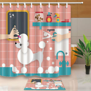 Image Is Loading Cartoon Poodle Bathing Clipart Shower Curtain Bathroom Decor
