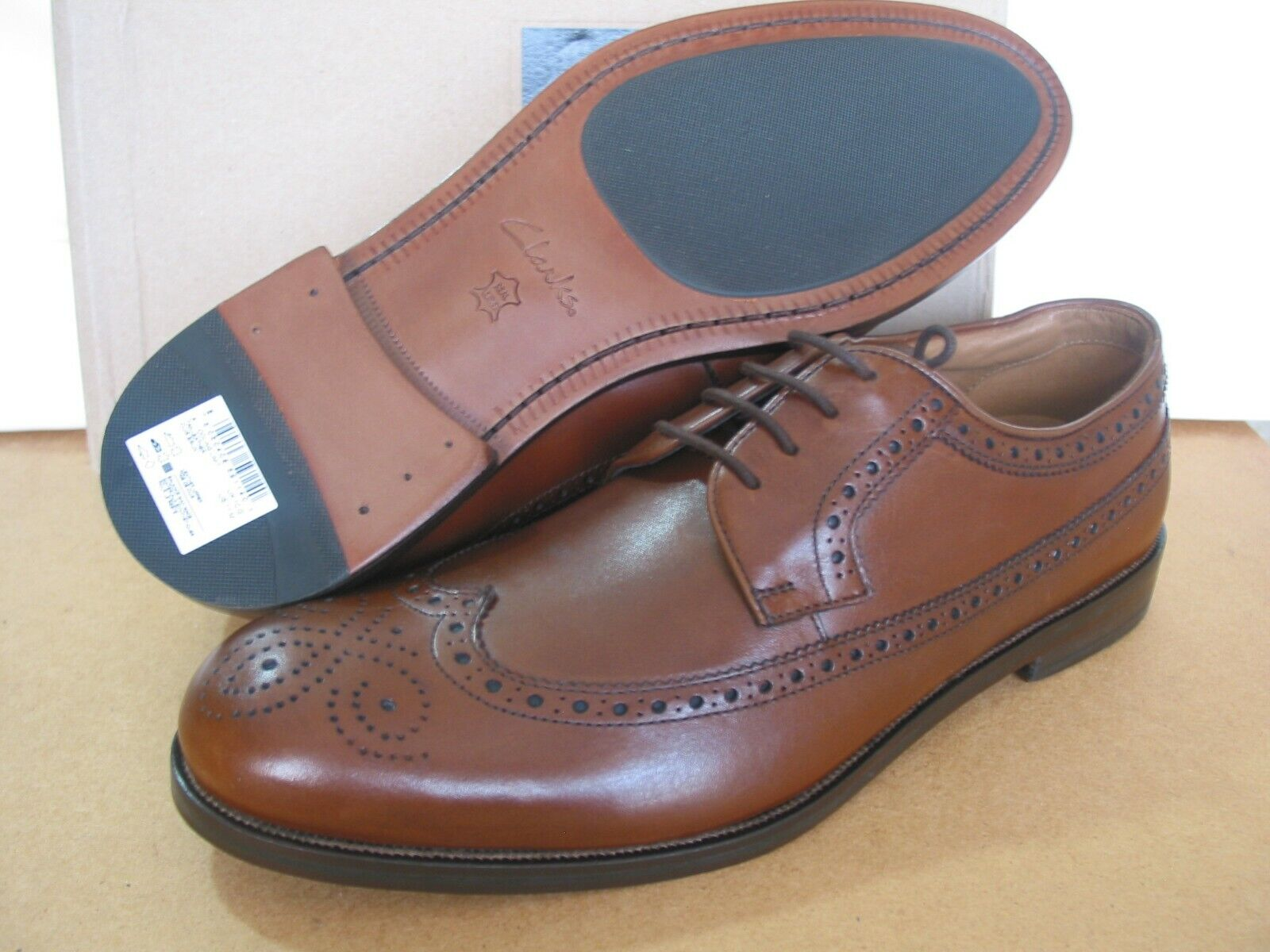 NEW MENS CLARKS COLING LIMIT BROWN LEATHER BROGUES SHOES UK SIZE 8.5