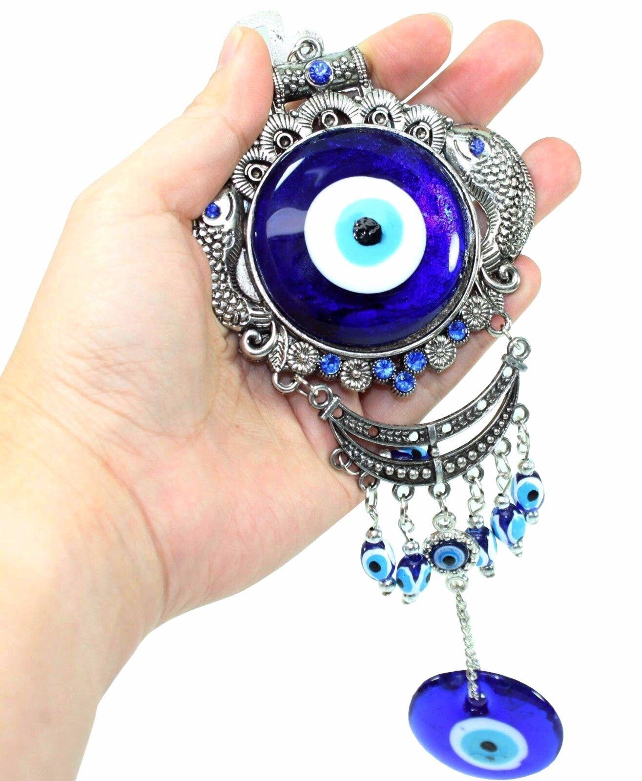 Turkish Blue Evil Eye Fish Amulet Wall Hanging Decor