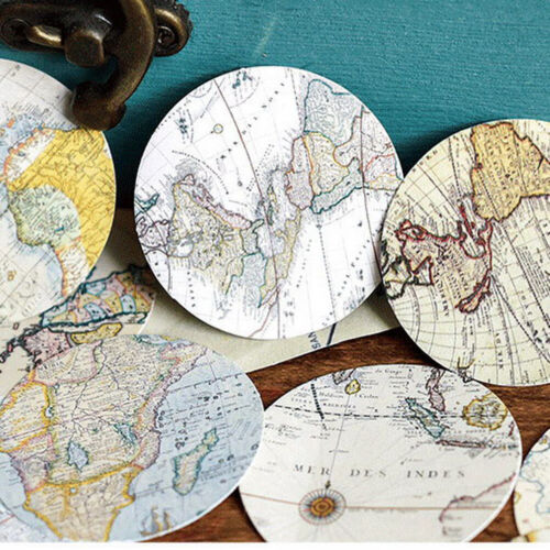 46pcs Vintage Poster Map DIY Diary Stickers Paper Lables Gifts Packaging DecRSDE