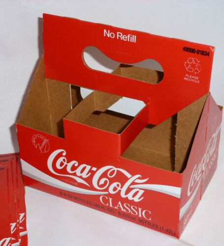 5 VINTAGE 1986 UNUSED COCA COLA CLASSIC CARRIERS GREAT FOR STORAGE-100s OF USES