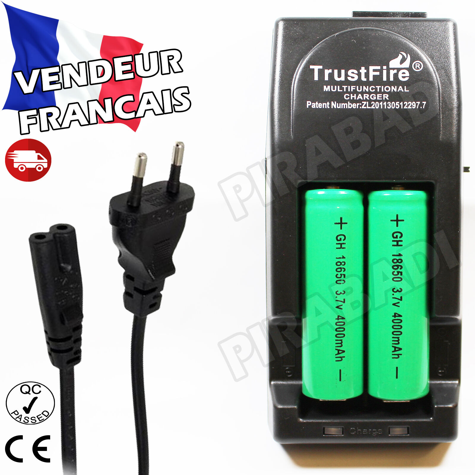 2 rechargeable battery batteries 18650 3.7v tr