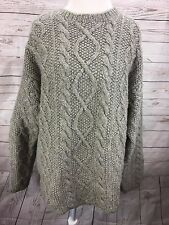 J.Crew Men's XL 100% Wool Fisherman's Cable Knit Sweater Gray Hand Knit