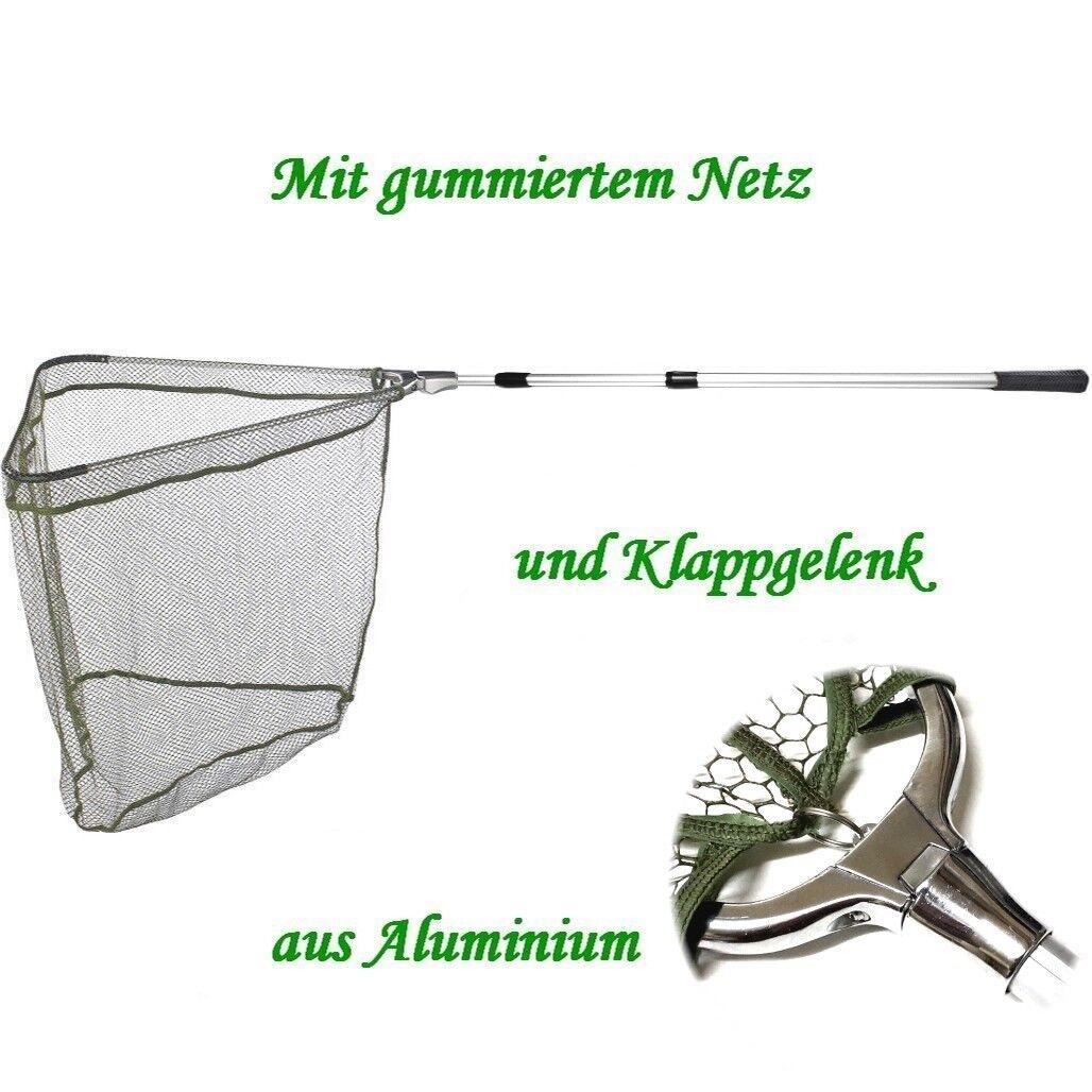 Kescher - Unterfangkescher Alu / Balzer 3,40m 3-tlg 60 x 60cm Netz gummiert