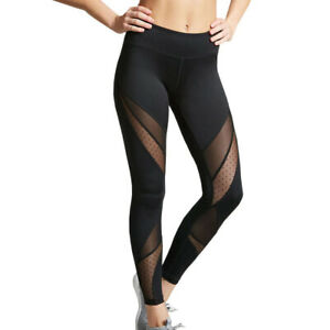 Womens Compression Fitness Lace Mesh Leggings Gym Workout Yoga Active Wear Pants