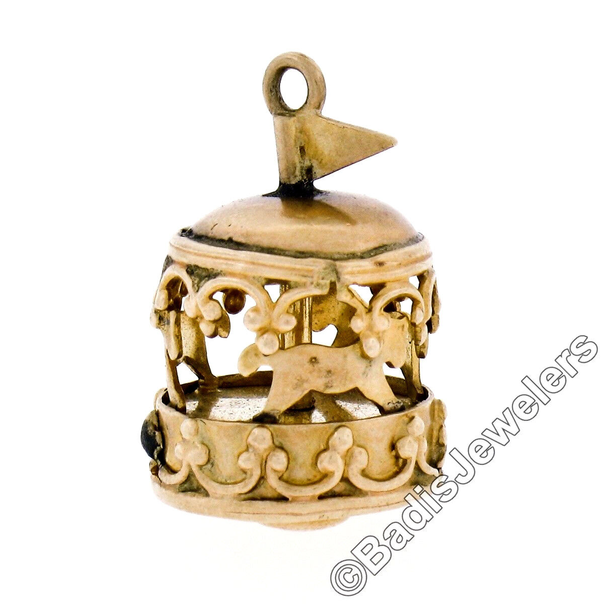 Vintage Collectible 14K Yellow gold Detailed Moving Open Carousel Charm Pendant