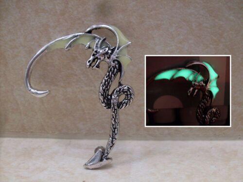 GLOW IN THE DARK Dragon Antique Bronze or Silver Earring Ear Cuff Wrap Punk Goth