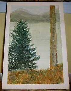 VINTAGE SPRUCE TREE MOUNTAINS AUTUMN SEASON COUNTRY FOLK ARE LANDSCAPE PAINTING