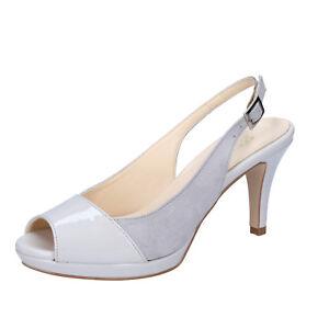 scarpe-donna-OLGA-RUBINI-38-EU-decolte-grigio-vernice-camoscio-BY322-D