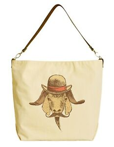 Cotton-Grocery-Bag-with-Leather-Strap-Printed-Hipster-Goat-with-Hat-WAS-29