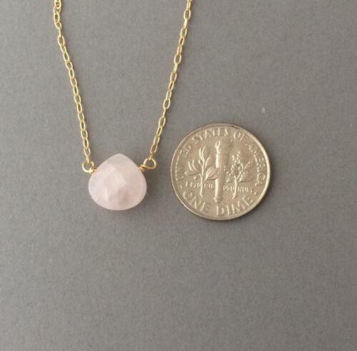GOLD REMPLIR Rose Quartz Rose Pierre Collier également en or rose ou argent solitaire