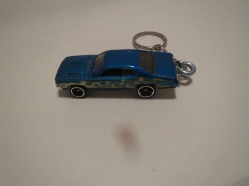 1971 DODGE DART DEMON DIECAST MODEL TOY CAR KEYCHAIN KEYRING BLUE W FLAMES NEW