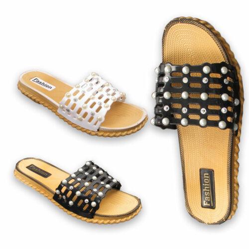Girls Pearl Kids Slider Flat Summer Sandals Cage Slides Ladies Diamante Size