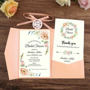 Details About Wedding Invitation Card With Envelope Ribbon And Tag Hollow Flora Designs Supply