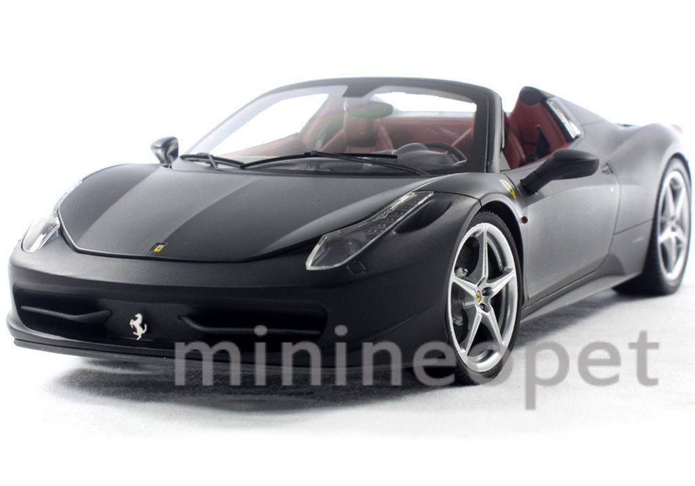 HOT WHEELS ELITE X5485 FERRARI 458 ITALIA SPIDER 1 18 Diecast Flat Noir