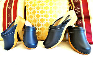 Blue-Navy-Black-Women-039-s-Swedish-style-Wooden-Clogs-Shoes-Leather-Sizes-US-6-9-5