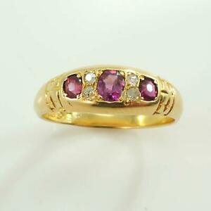 Victorian-1902-18ct-Gold-Ruby-amp-Diamond-Ring