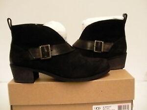 Detalles de Mujer Ugg Botas Bajas Wright con Cinturón Size 8 Negro Nuevo